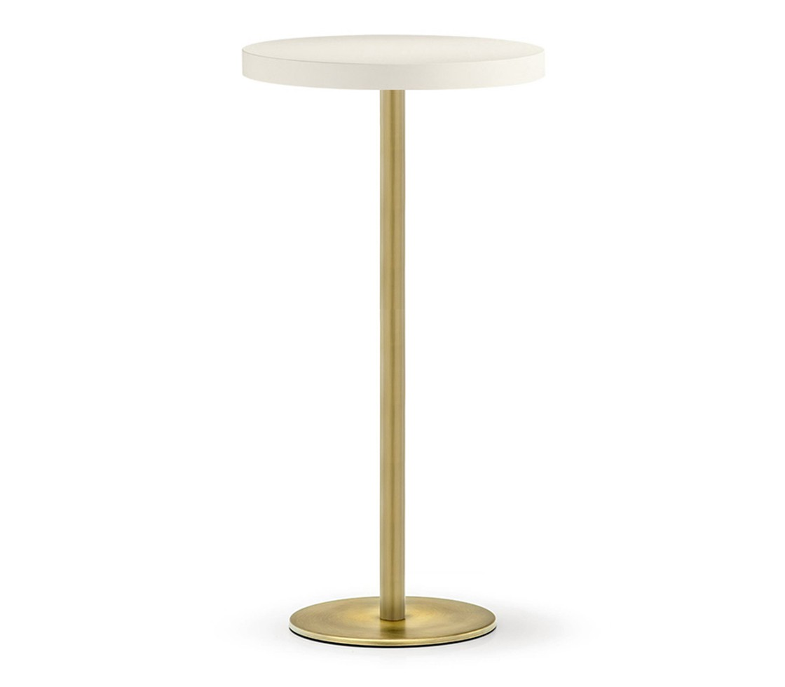 Inox 4404 brass poseur table base style matters for Table cuisine professionnelle inox